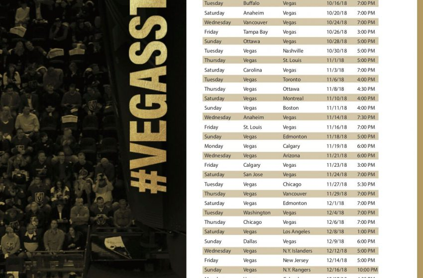 Golden Knights Schedule & Bars